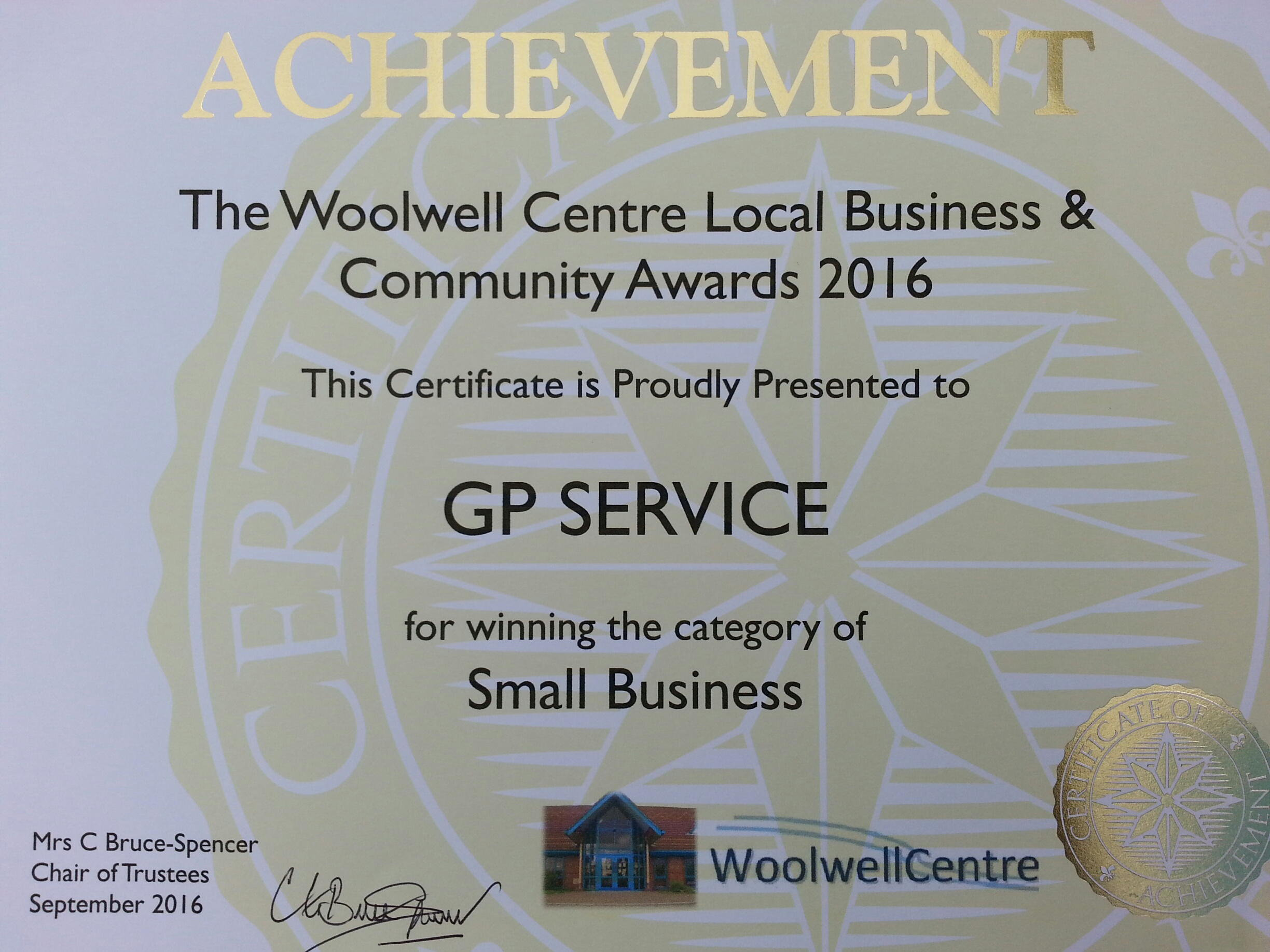 Our parent company G P Service won an award for best small business.